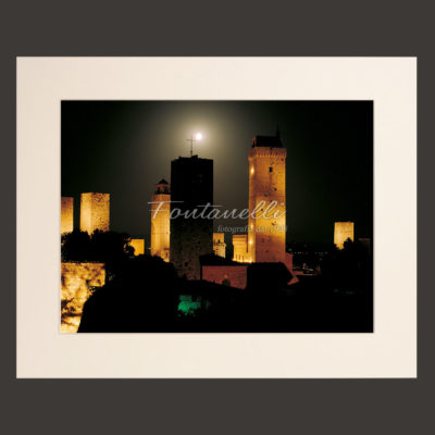san gimignano tuscany town by night picture for sale 2