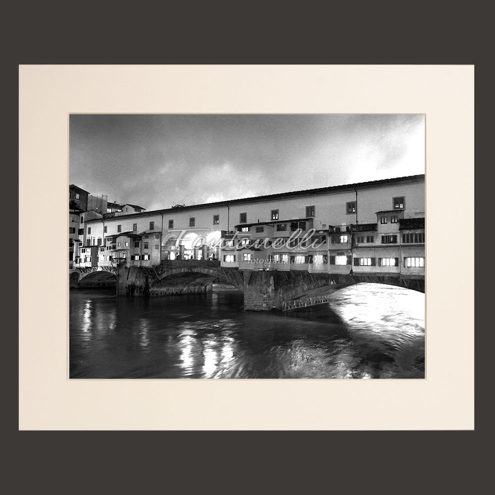ponte vecchio florence black and white picture for sale