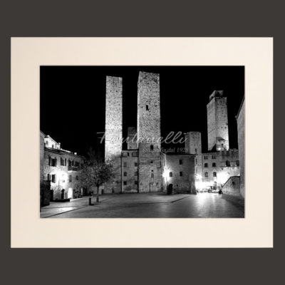 san gimignano town tuscany italy black and white by night