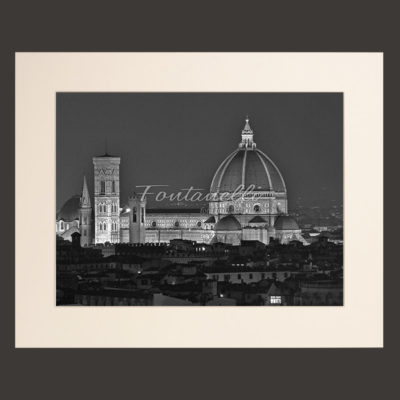 florence duomo italy by night black and white