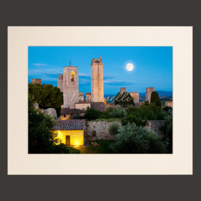 san gimignano sunset tuscany town picture for sale