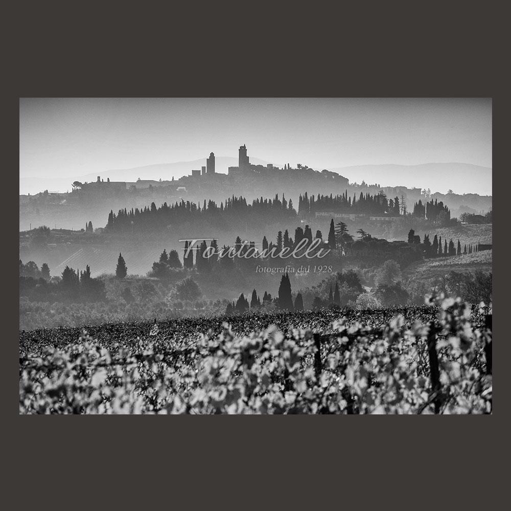 Panoramic photo black and white san gimignano tuscany