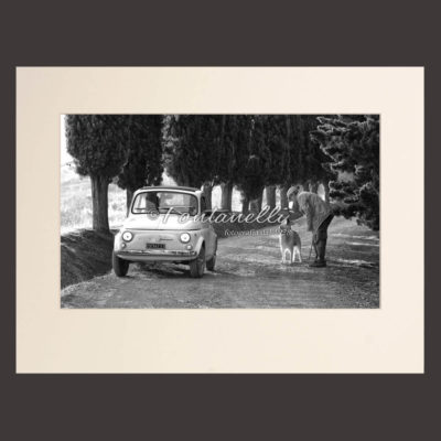 Photo Black and white  man, golden retriver and Fiat 500