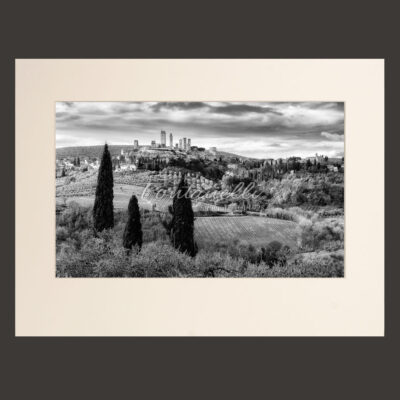 Black and white country photos with San gimignano and cypress trees, Tuscany